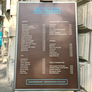 BalthasarCoffee menu