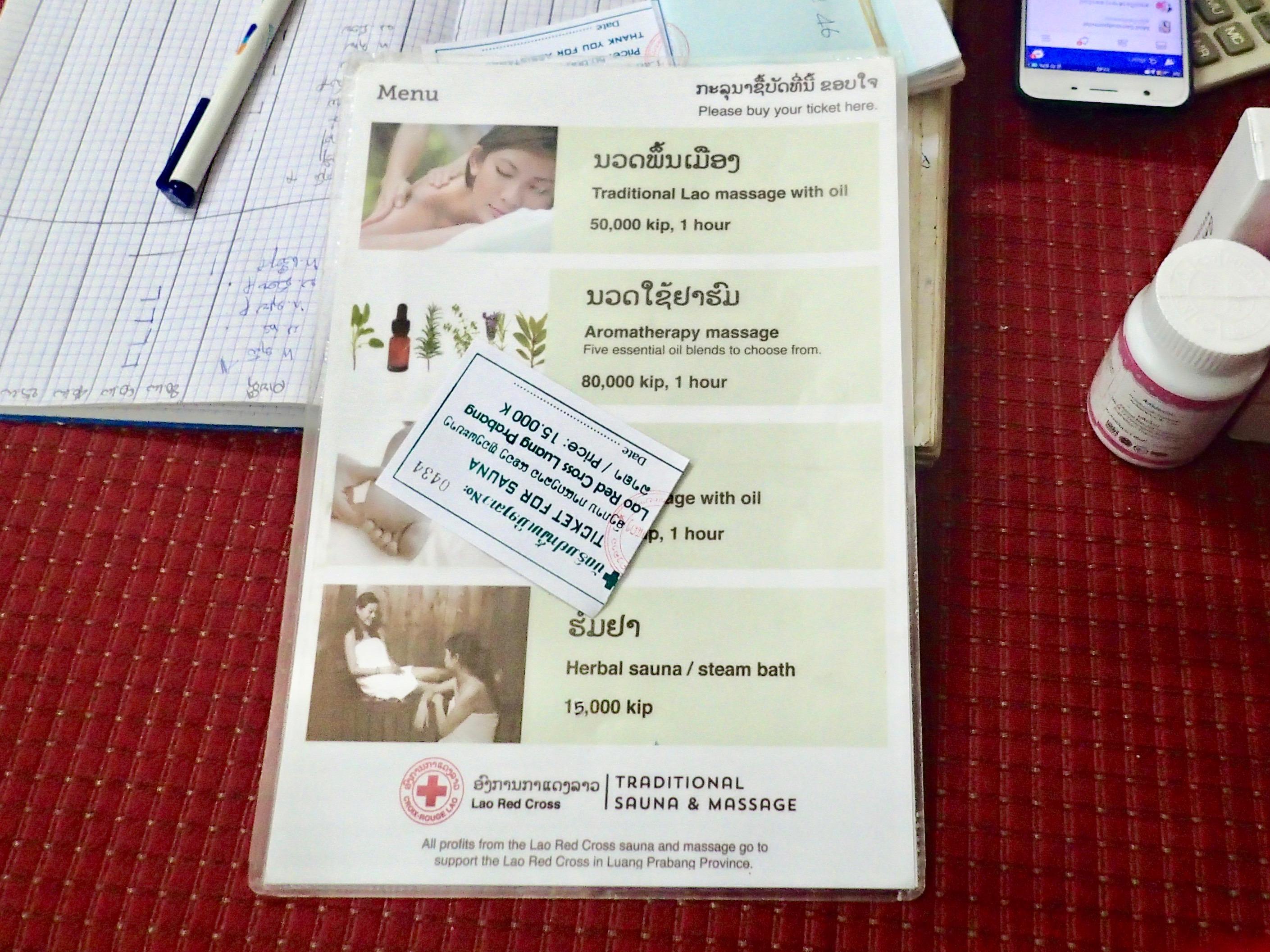 Lao Red Cross menu